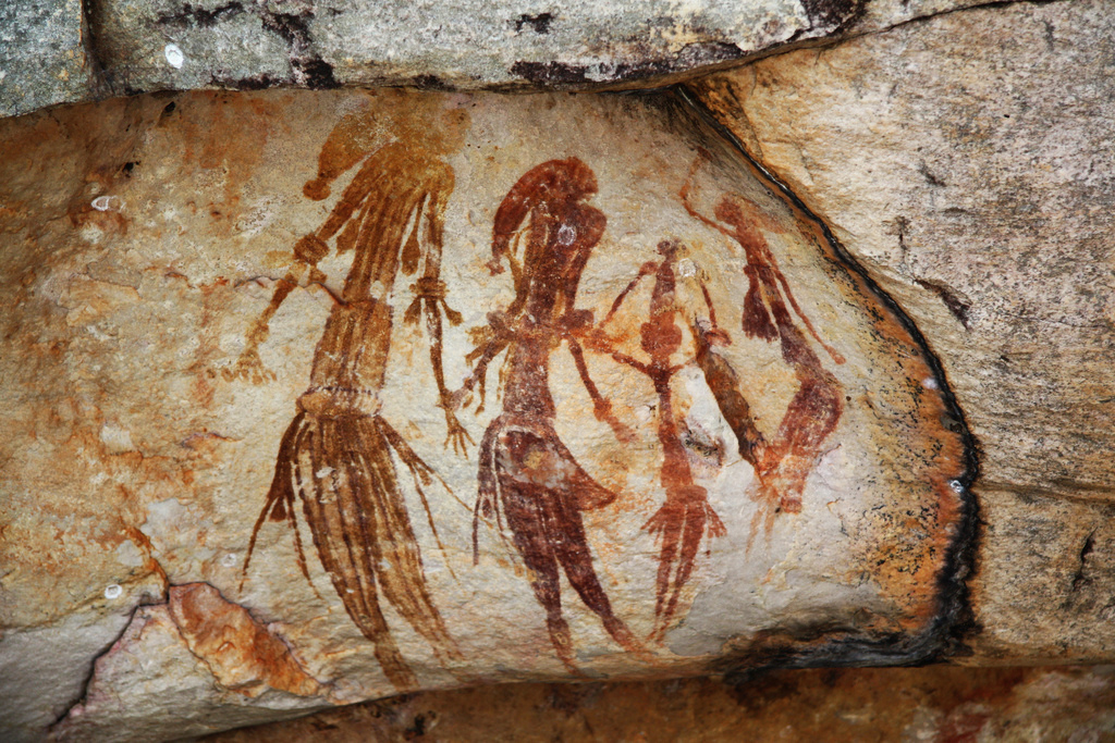 Bradshaw rock paintings in the Kimberley region of Western Australia, taken at a site off Kalumburu Road near the King Edward River. Source: Bradshaw Art. Author: TimJN1. Licensed under the Creative Commons Attribution-Share Alike 2.0 Generic license.