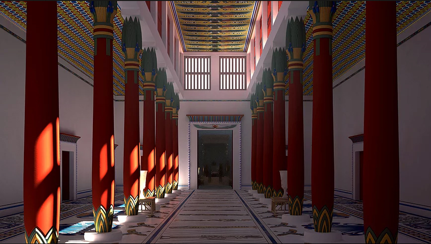 As explained on the project's page, during this first phase of the project, experts focused on the Palace's hypostyle hall and the throne room to which it leads. (© Paul François et Franck Monnier, 2017)