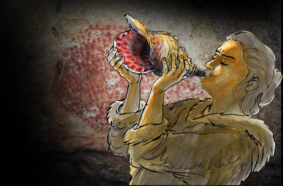 Reconstruction of the instrument being played. In the background, a red dotted buffalo decorates the walls of the Marsoulas Cave; similar motifs decorate the instrument. Credit : © Carole Fritz et al. 2021 / drawing: Gilles Tosello