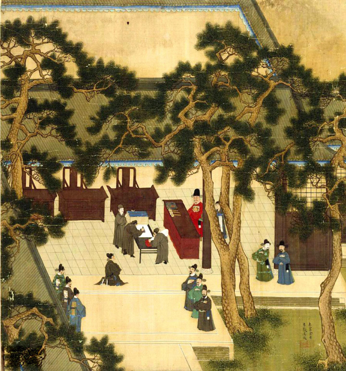 Xu Xianqin, Vice-Minister of Rites, overseeing the imperial civil service exam circa 1587, during the Ming Dynasty. Credit : 余壬、吳鉞描繪,徐顯卿題詠, Public domain, via Wikimedia Commons