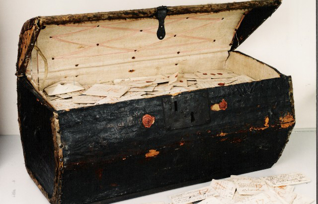 A seventeenth-century trunk of letters bequeathed to the Dutch postal museum in The Hague.