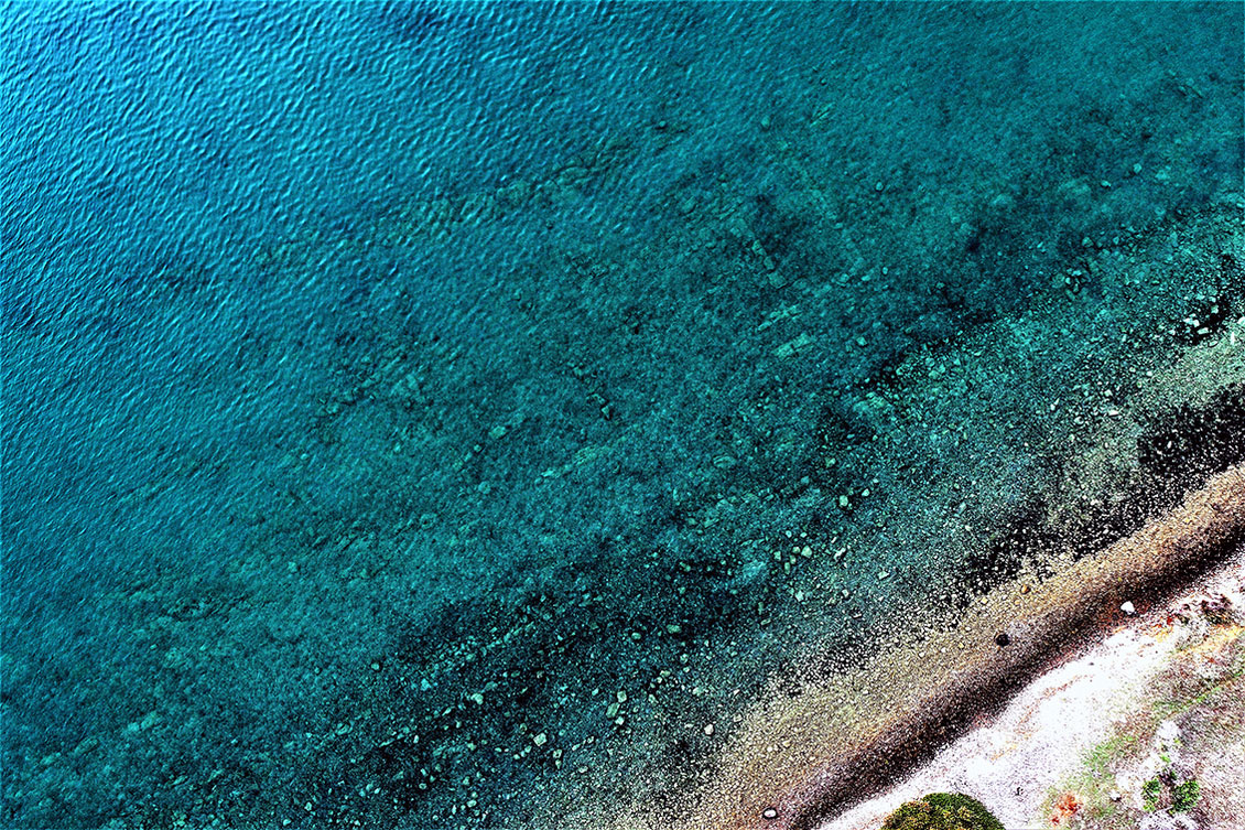 Aerial view of submerged remains of buildings at Tsifiliki (photo: MOCAS).