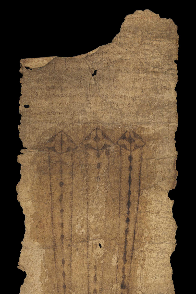 Medieval English Birth Scroll. MS.632 (c. 1500), Wellcome Collection. The girdle contains prayers and invocations for safe delivery in childbirth. Biomolecular evidence supports its active use. Credit : Image courtesy of Wellcome Collection.