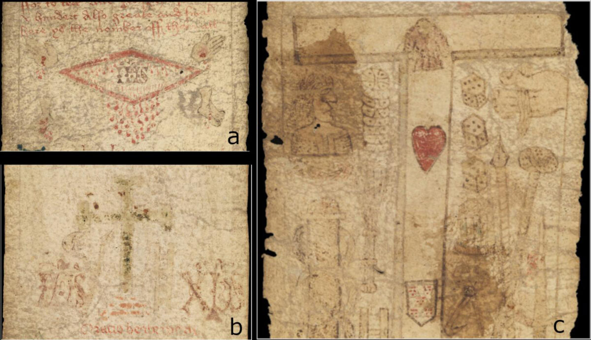 Details taken from MS. 632. a) MS. 632: the dripping side-wound. b) MS. 632: rubbed away green cross or crucifix. c) MS. 632: Tau cross with red heart and shield. Credit : Images courtesy of Wellcome Collection