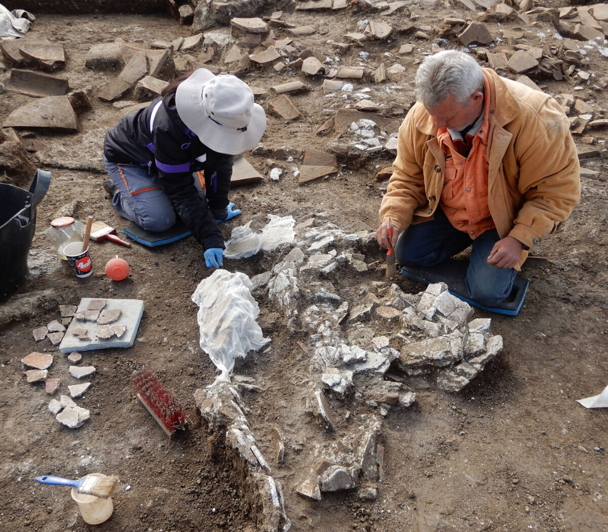 Clearing, first aid and collecting of fallen plasters. Photo: Hemathia Ephorate of Antiquities