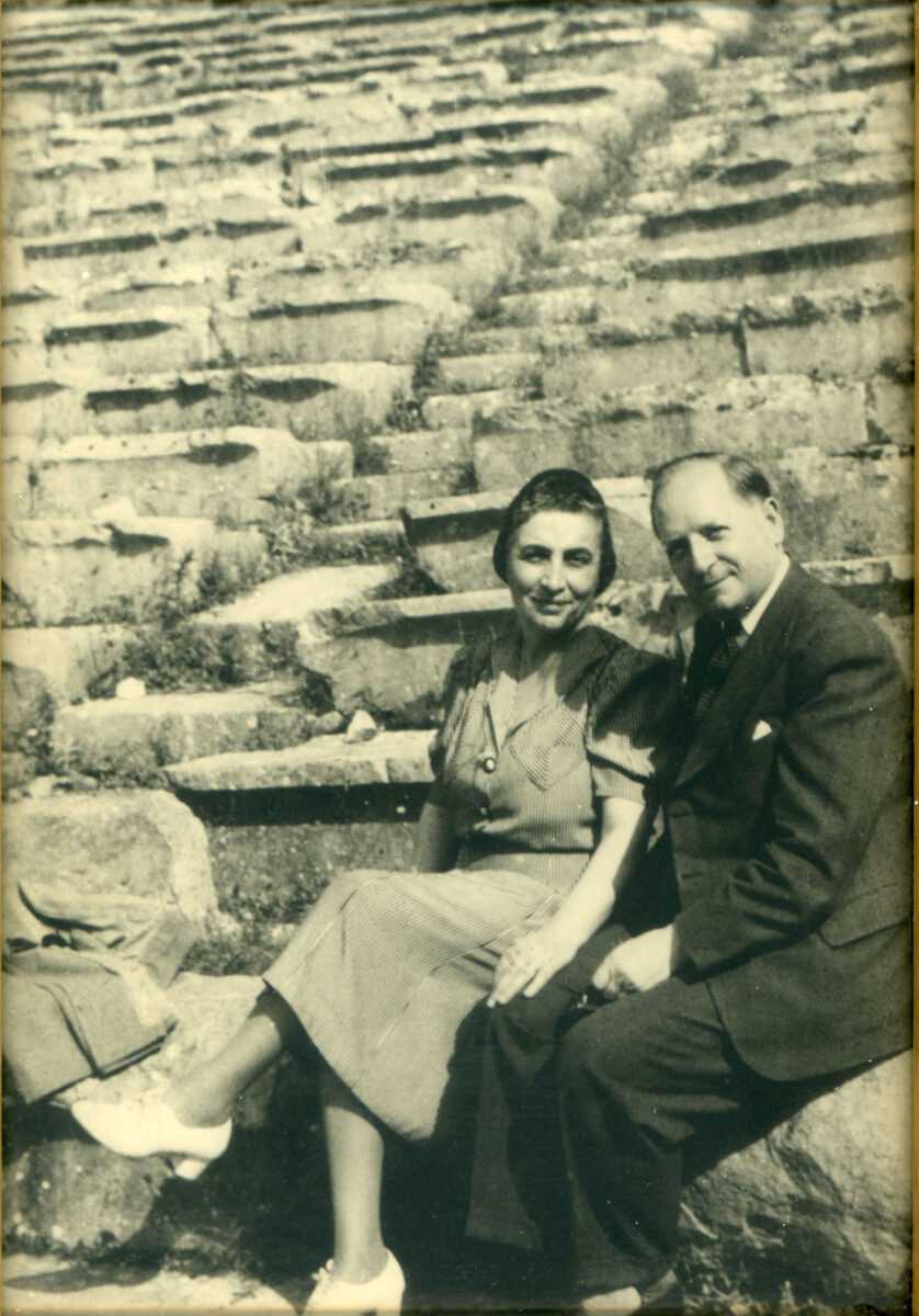 Melpo and Octave Merlier at Delphi, 1950. Centre for Asia Minor Studies.