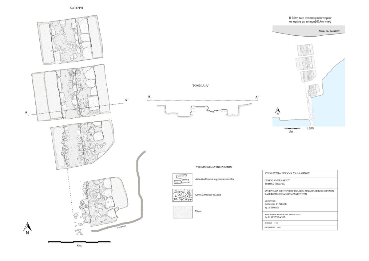 Plan and cross section of the unearthed section of the wall (mapped by E. Kroustalis) (photo: MOCAS).