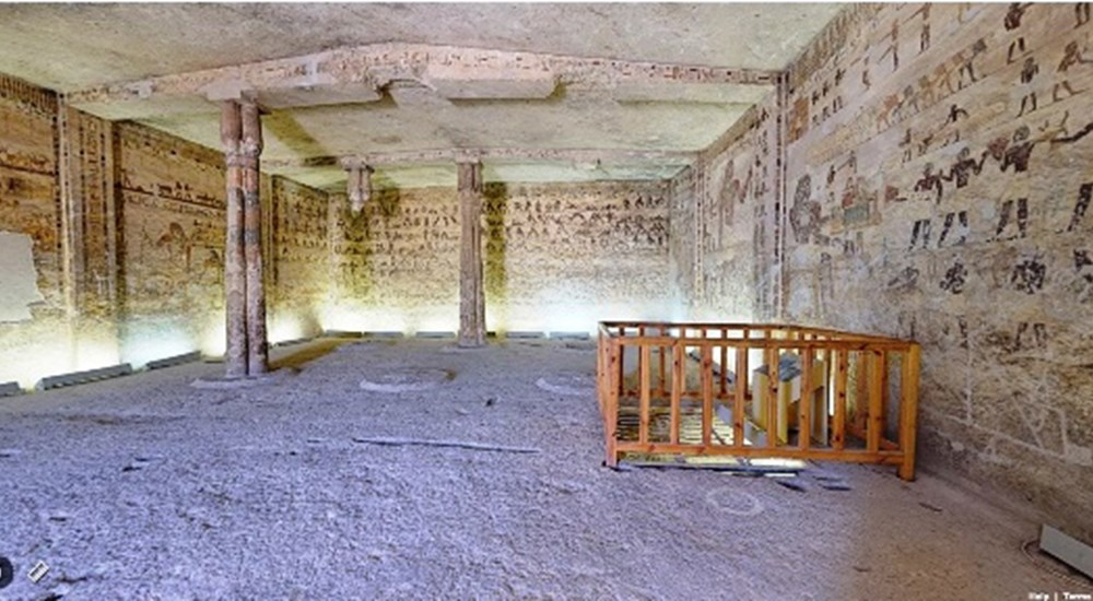 View of the Tomb of Kheti in Beni Hassan necropolis.