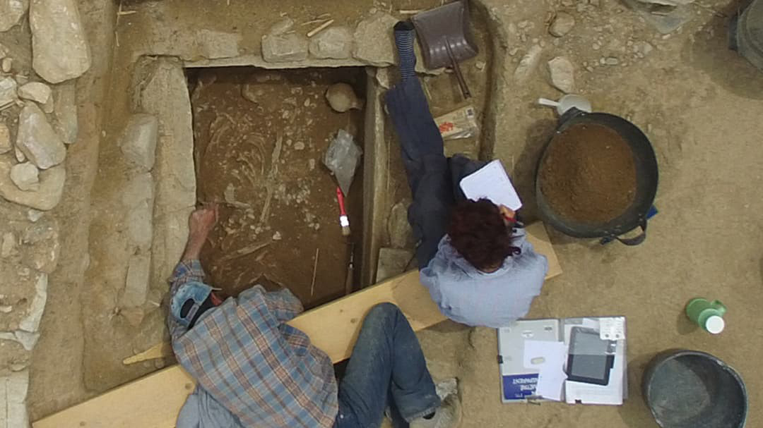 Prior to lockdowns caused by COVID-19, students participated in archaeological digs like this one at NKUA's excavation site at Marathon in Greece.