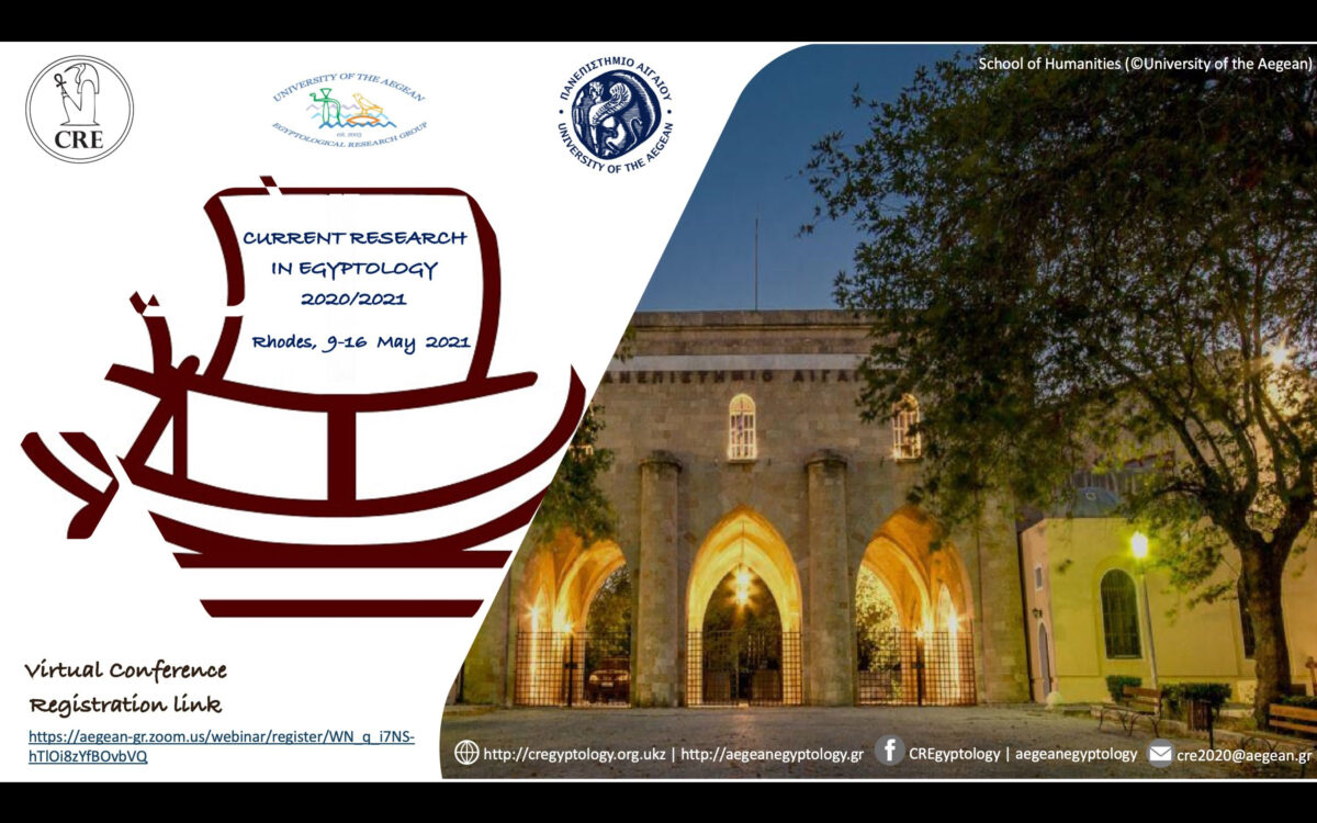 Current Research in Egyptology 2020/2021 taking place in Rhodes, Greece