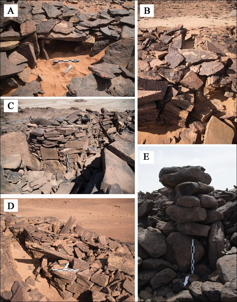 Features of mustatil: A) internal niche located in the head of a mustatil; B) a blocked entranceway in the base of a mustatil; C–D) associated features of a mustatil: cells and orthostats; E) stone pillar identified on the Harrat Khaybar lava field. Credit: Hugh Thomas et al. 2021
