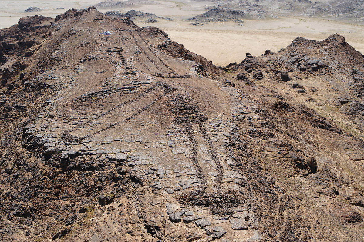 Three monumental mustatils and a later funerary 'pendant' located atop a rocky outcrop on the border of Khaybar and AlUla counties. Credit: Royal Commission for AlUla