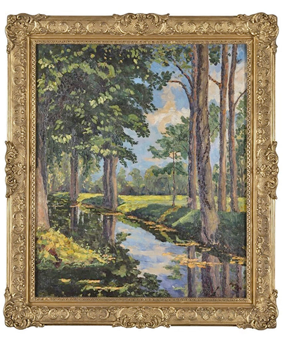 """""""The Moat, Breccles"""", oil painting made by Winston Churchill (photo : www.phillips.com)."""