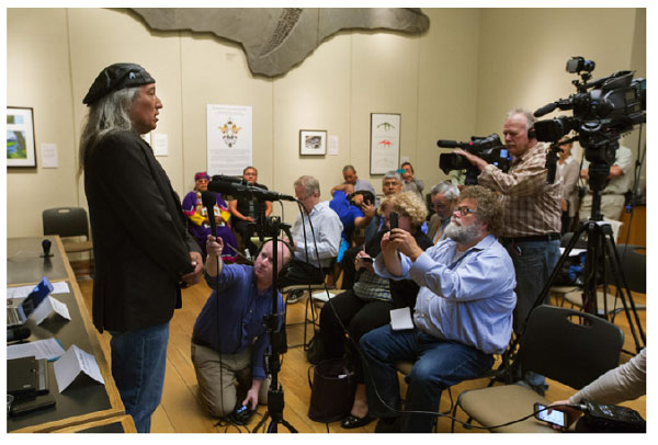 Kennewick Man: The late Jim Boyd of the Confederated Tribes of the Colville talking at the press conference in 2015 announcing the results of the DNA analysis of Kennewick Man, the Ancient One. Credit: Linus Mørk/Magus Film