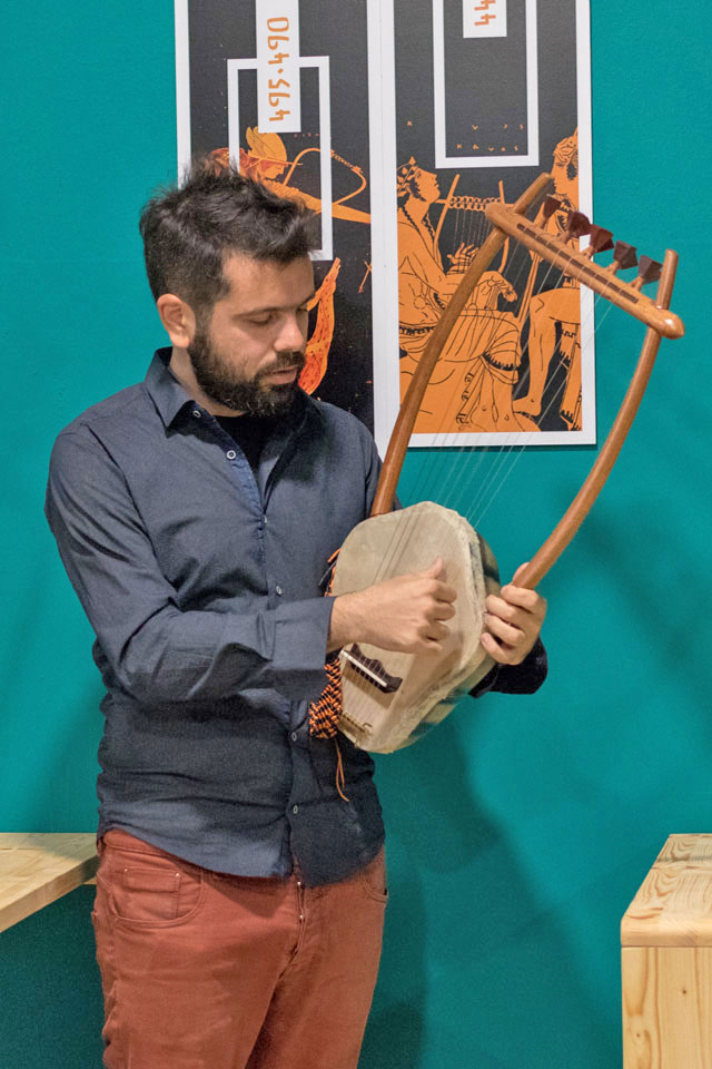 Video game music played with an ancient lyre