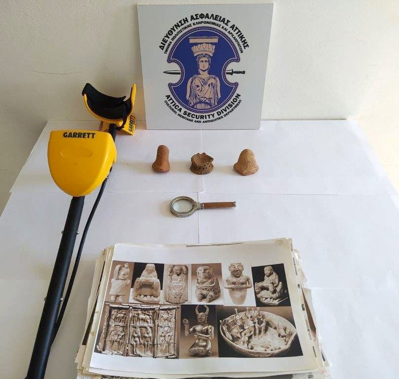The ancient artefacts confiscated in Laconia (photo: Hellenic Police)