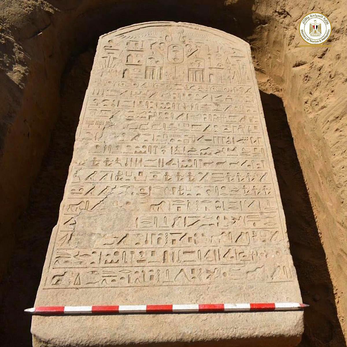 Pharaonic border stela received at Ismailia Museum
