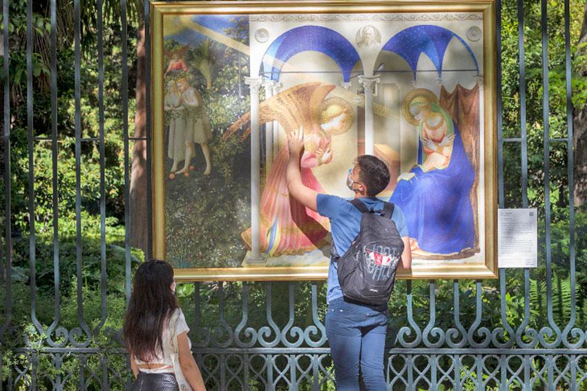 """Fra Angelico, """"The Annunciation"""" in the Royal Botanical Gardens. Photo  © Museo Nacional del Prado."""