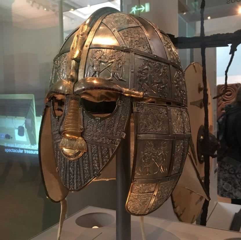 The famous Anglo-Saxon Sutton Hoo helmet, part of the British Museum collection.