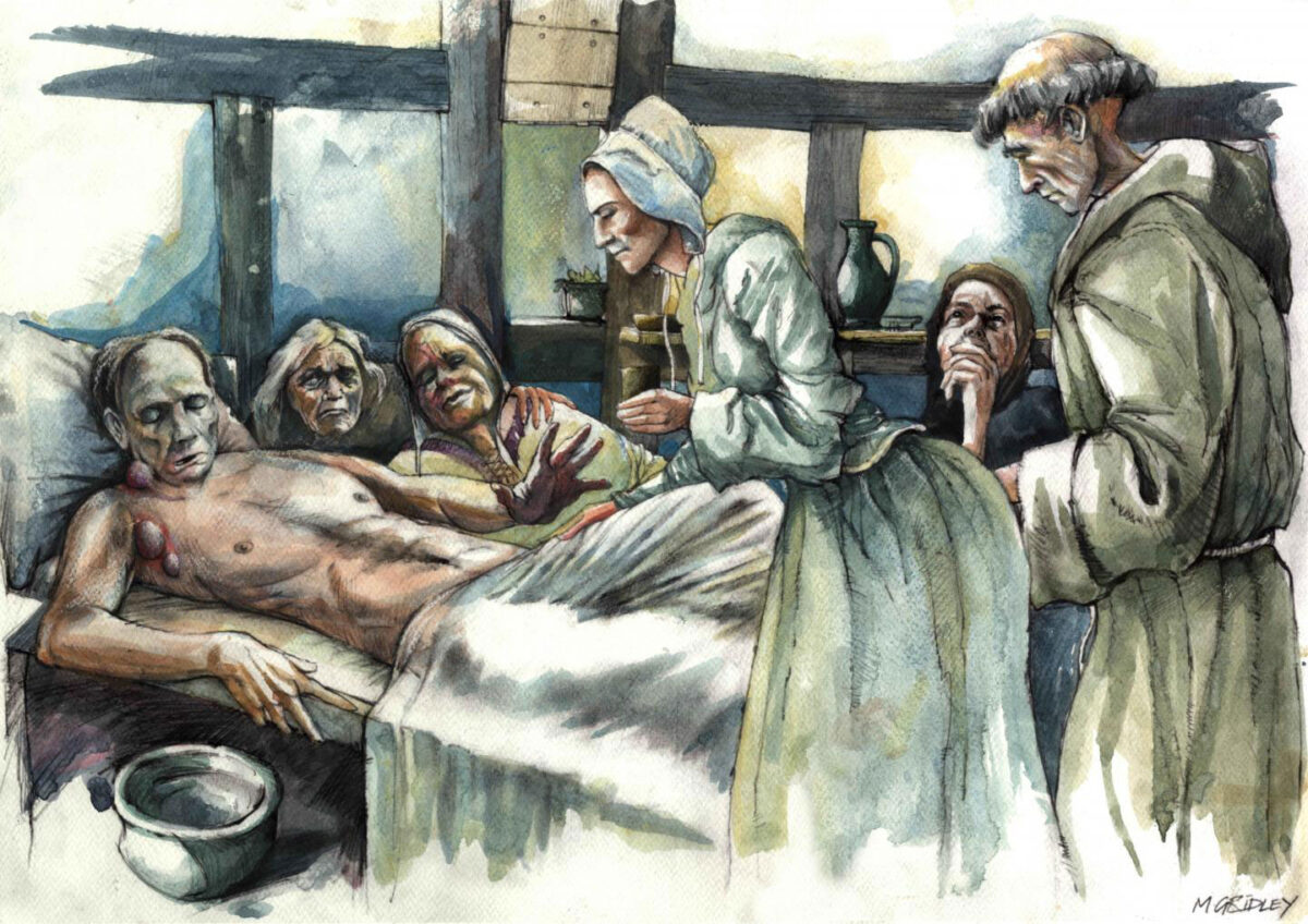 Reconstruction of plague victim from All Saints, Cambridge. Credit : Mark Gridley