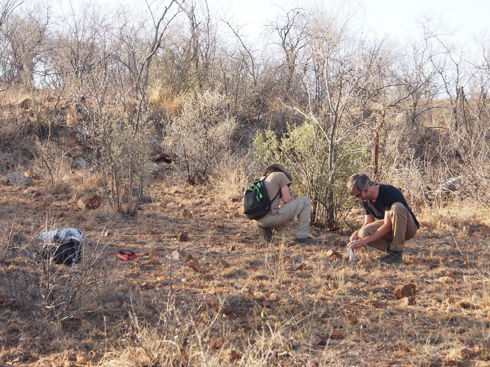 Stefano Biagetti and Patricia Groenewald collecting the anthropogenic sediment samples with the bags.