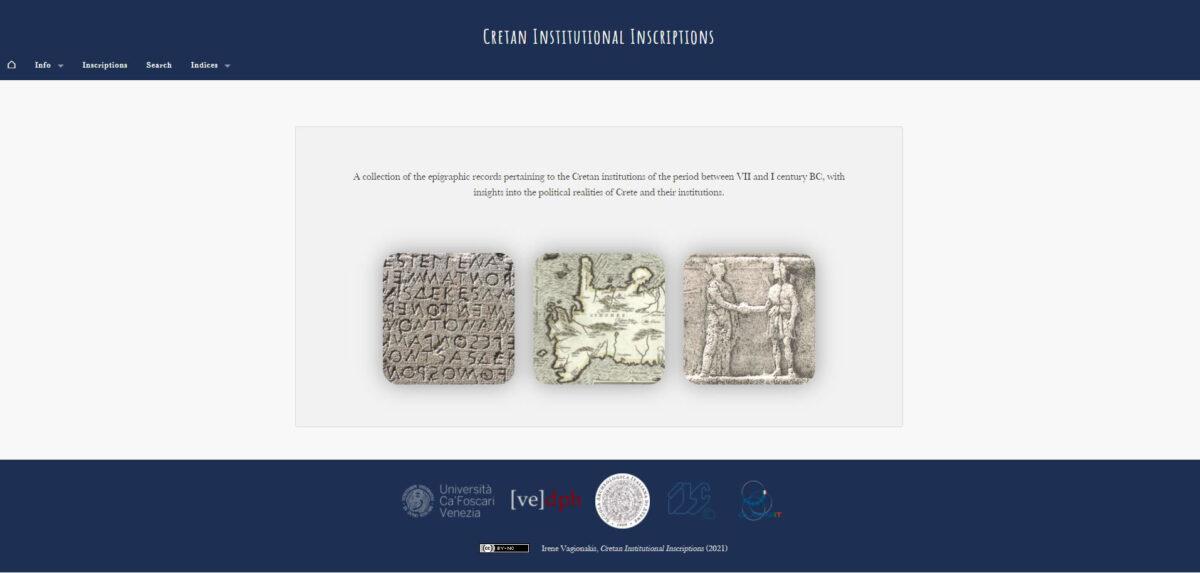Cretan Institutional Inscriptions. Project main page (snapshot).
