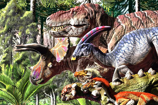 The last march of dinosaurs. Credit : painting by Jorge Gonzalez ©