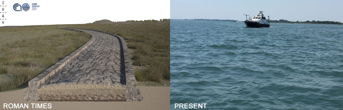 (Left) the reconstruction of the Roman Road in the Treporti Channel in the Venice Lagoon made on the basis of the multibeam data. Credit: Antonio Calandriello and Giuseppe D'Acunto. (Right) the same area now submerged. Credit: Fantina Madricardo.