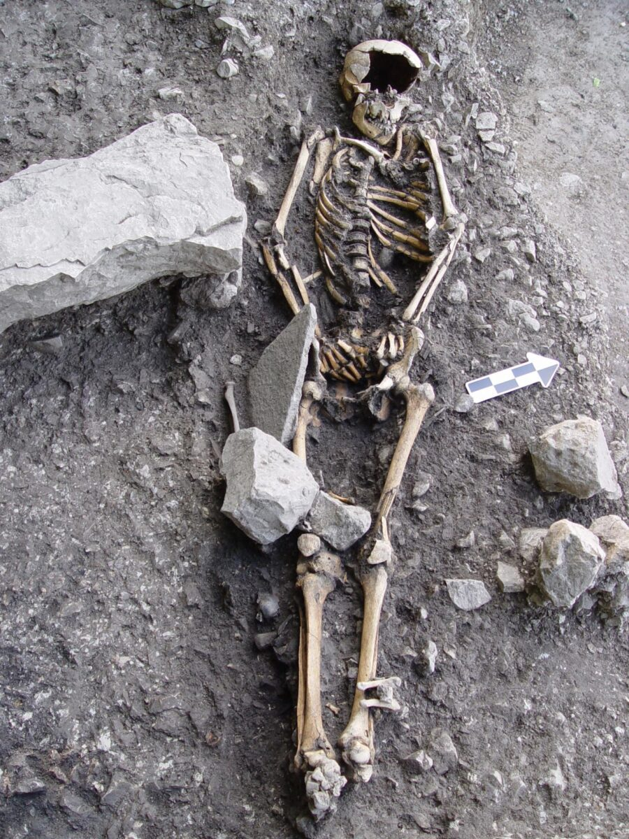 Articulated inhumation in burial H53 (c. 6000-5900 cal BC) from the site of Vlasac, Serbia [Credit: Dusan Boric]