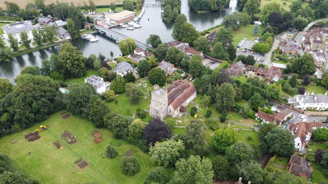 The excavation site lies next to Holy Trinity Church in the English village of Cookham. Credit: University of Reading