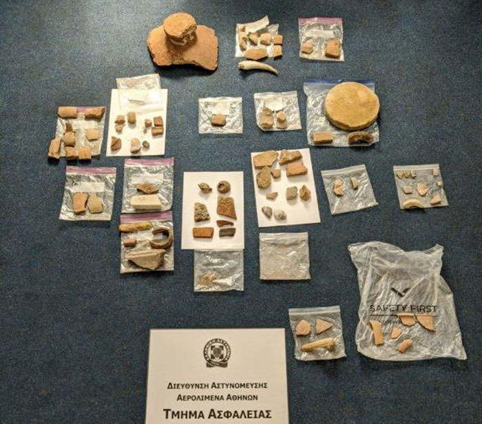 The ancient items found at Athens International Airport (photo: Hellenic Police)