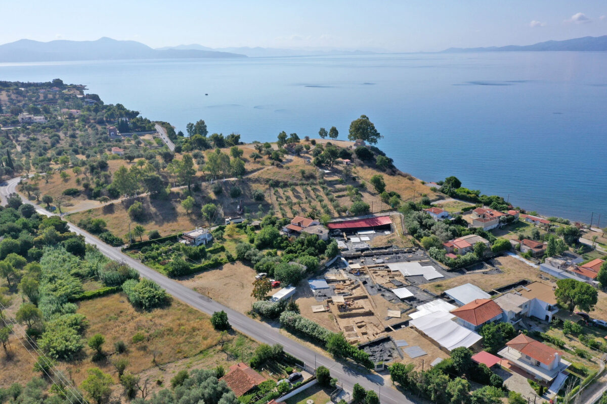Aerial photograph of the excavation at Amarynthos (photo: MOCAS)