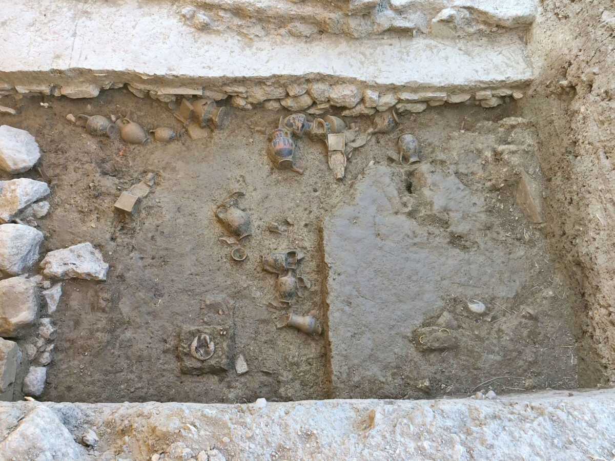 Deposit of the Late Archaic temple of Artemis Amarysia, Amarynthos. Section of the 2020 excavation (photo: MOCAS)