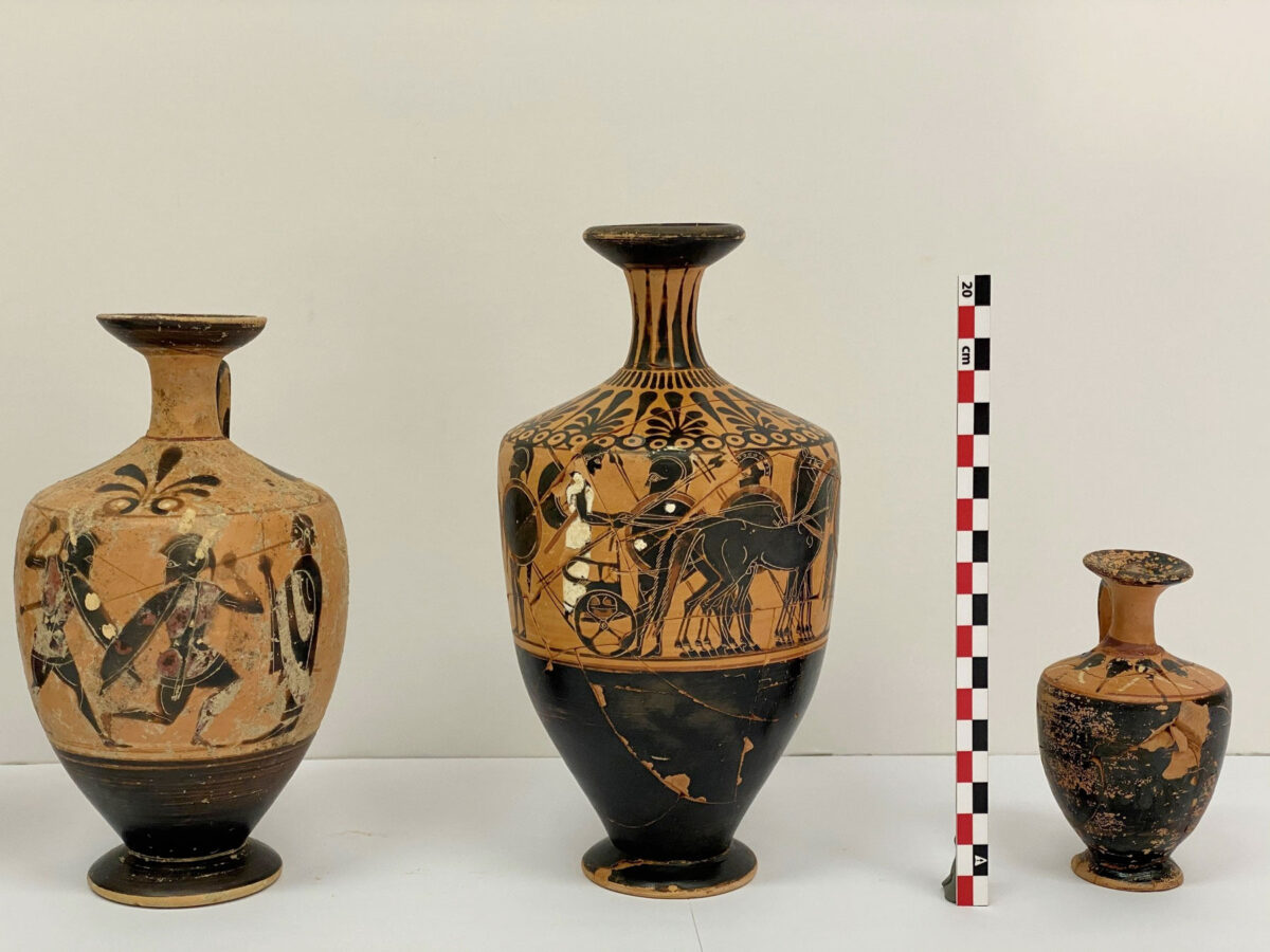 Three vases from the 2020 excavation of the foundation deposit of the Late Archaic temple of Artemis Amarysia, Amarynthos (photo: MOCAS)