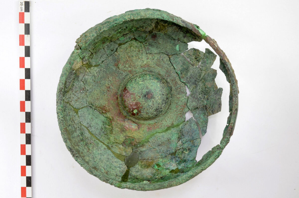 Bronze phiale from the 2020 excavation of the foundation deposit of the Late Archaic temple of Artemis Amarysia, Amarynthos (photo: MOCAS)