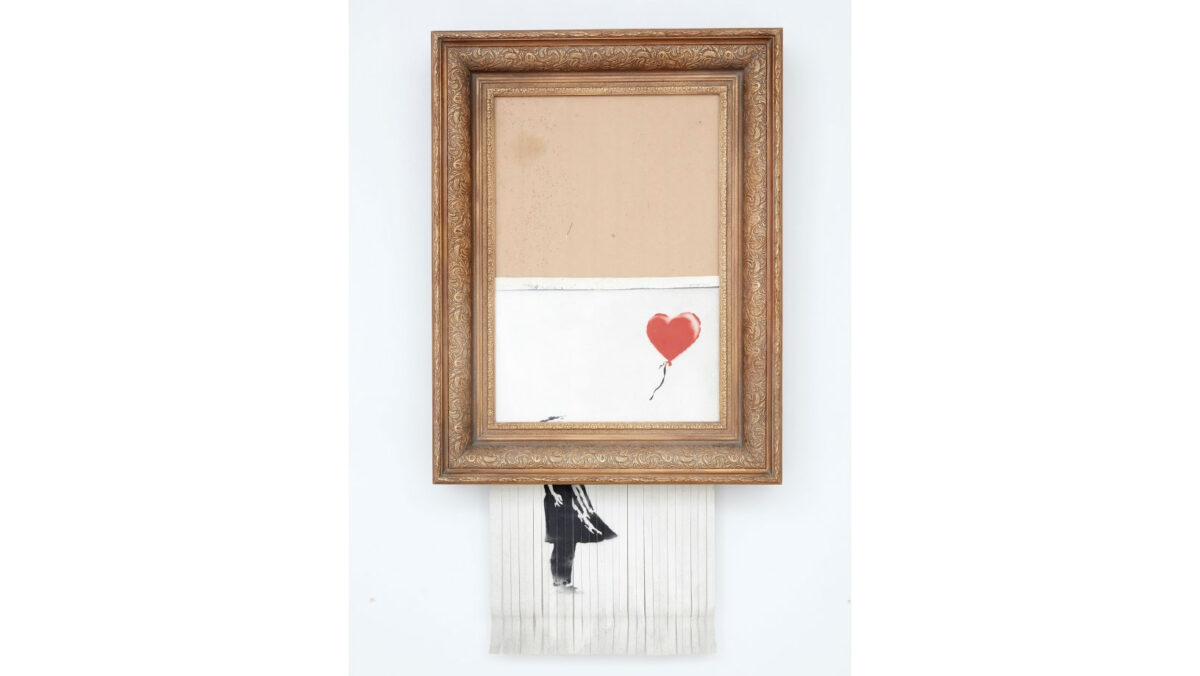 """Banksy's """"Girl with balloon"""" renamed """"Love is in the Bin"""" (photo: Sotheby's)."""