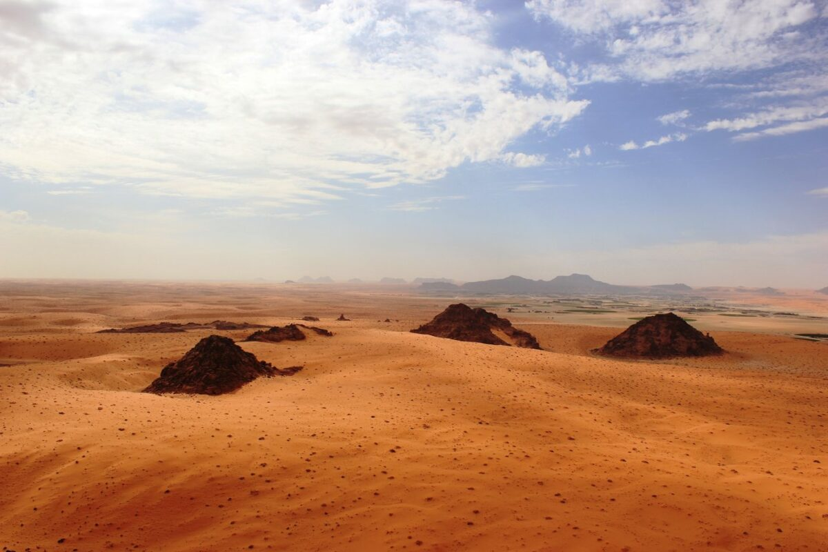 The Jubbah Oasis in northern Saudi Arabia, where humans were repeatedly present during periods of increased rainfall over hundreds of thousands of years. © Palaeodeserts Project