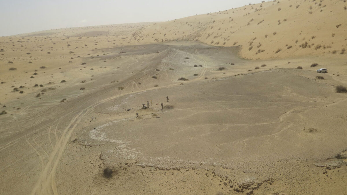 The site of Khall Amayshan 4 in northern Saudi Arabia, where evidence of repeated visits by early humans over the last 400,000 years was found, associated with the remains of ancient lakes. © Palaeodeserts Project