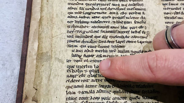 Detail from one of the fragments showing the name Merlin. Image credit: University of Bristol