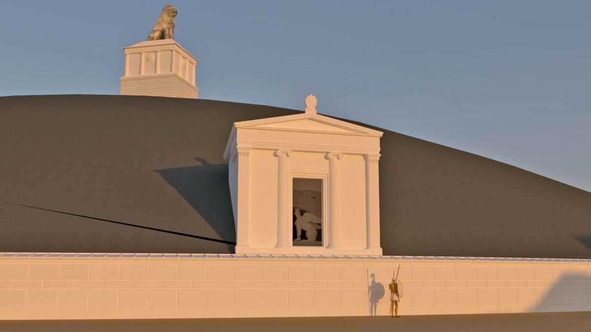 Reconstruction of the portico and mound (photo: MOCAS)