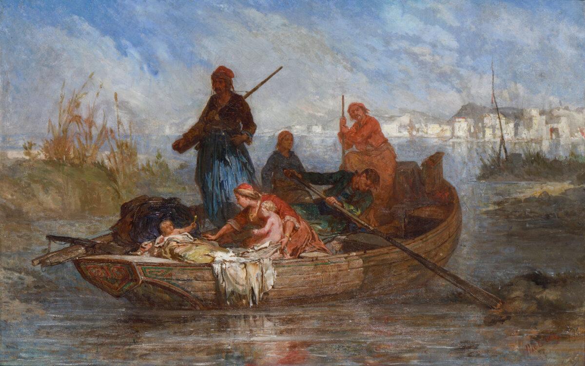 "Jean Michel-Mercier (1786-1874), ""Refugees from Mesolonghi"", circa 1830. Oil on canvas, 37x58 cm. Benaki Museum (12944)."