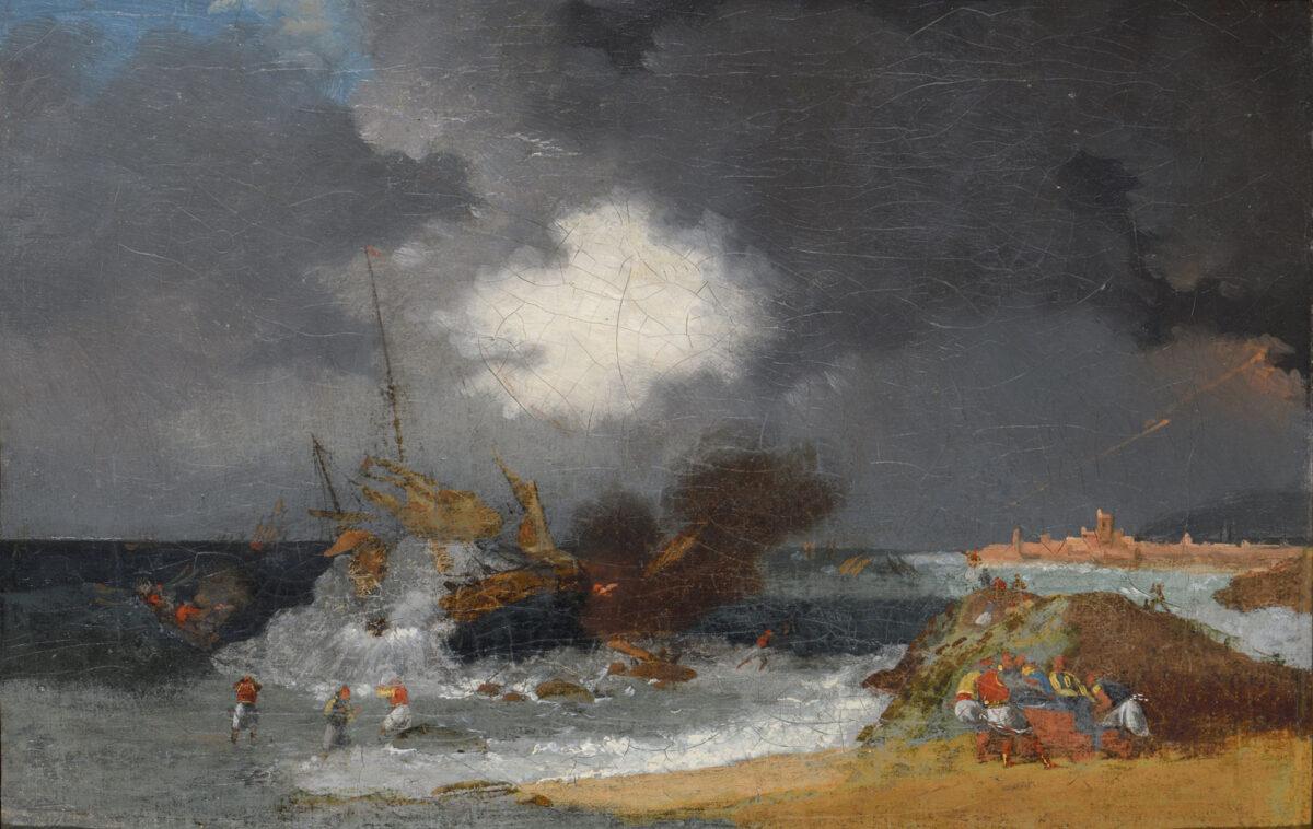 "Horace Vernet (1789-1863), ""Burning of Turkish ship"", 1821. Oil on canvas, 20,5x39 cm. Benaki Museum (8992)."