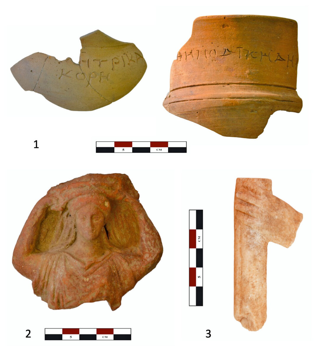 Fig. 10. 1: Graffiti on ritual vessels from the temple's interior with inscribed names of female deities (ΔΗΜΙΤΡΙ ΚΑΙ ΚΟΡΗ). 2: Clay hand of a ritual chest carrier.3: Hand holding torch, possibly from marble statue of Kore.