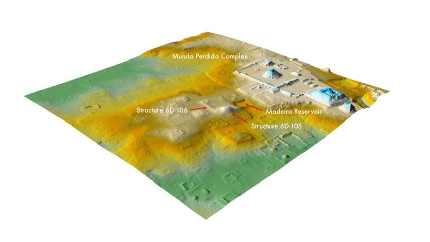 A recent lidar analysis revealed that an area once assumed to be natural hills, center, near Tikal's Lost World complex, right, is actually an 1,800-year-old ruined citadel. Photo: Thomas Garrison/Pacunam